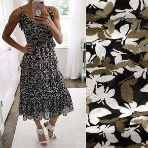 Michael Kors Butterfly Print Tiered Ruffle Dress